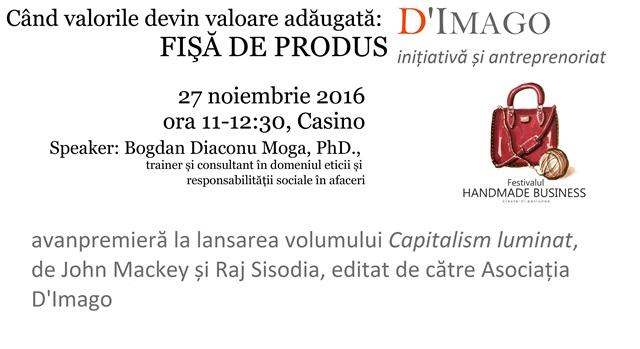 """Workshop: """"Când valorile devin valoare adăugată: Fișă de produs"""", în cadrul Festivalului Handmade Business, Cluj-Napoca"""